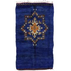 Vintage Berber Moroccan Rug in Cobalt Blue with Modern Tribal Design