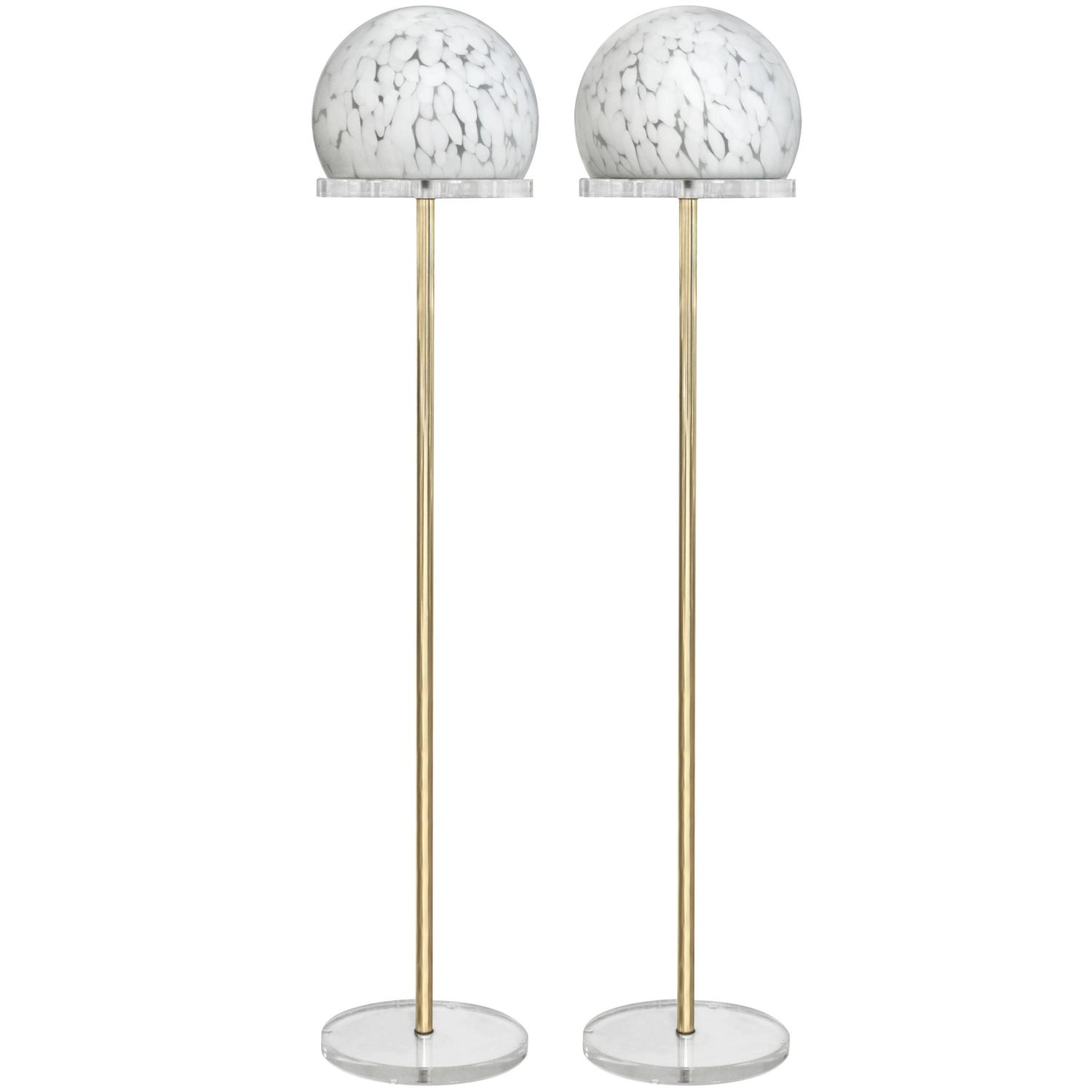 pair of floor lamps in brass with mottled glass shades at. Black Bedroom Furniture Sets. Home Design Ideas