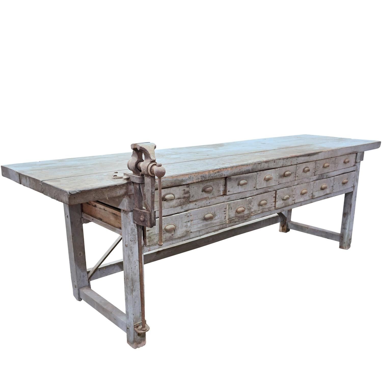 Rustic Handmade Work Bench With Blacksmith Vice At 1stdibs