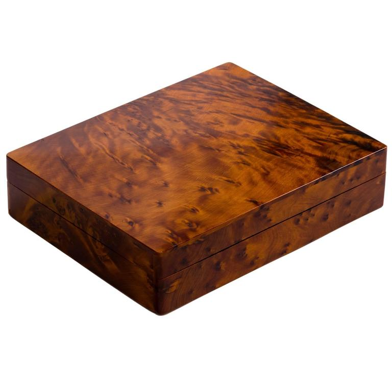 Italian Art Deco Burl Wood Cigar Box