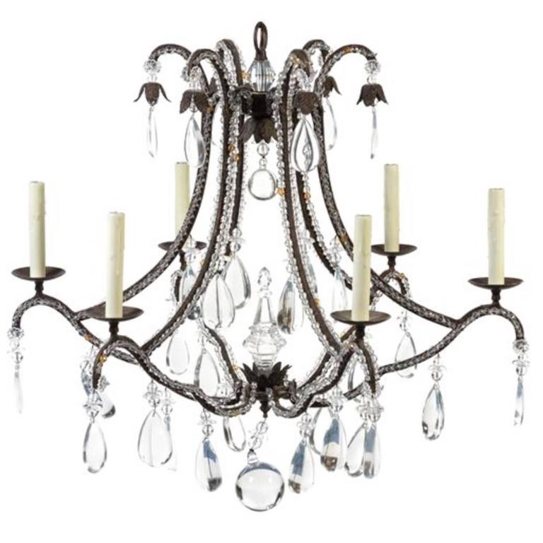 Beaded Wrought Iron Six-Light Chandelier For Sale