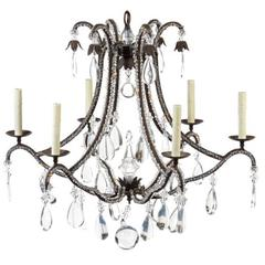 Beaded Wrought Iron Six-Light Chandelier