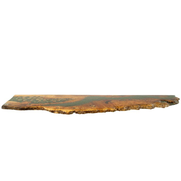 Shelf, Coffee Table, Console in Big Leaf Maple with Crystals and Gemstones