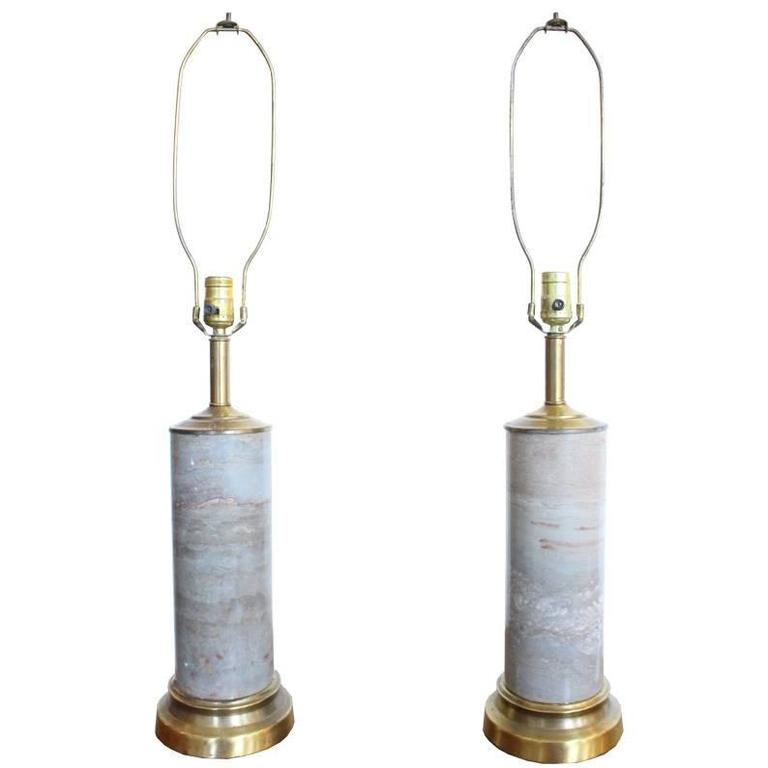 Pair of Marble Lamps with Brass Accents For Sale