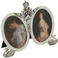 Sterling Silver Double Photograph Frame, Antique George V