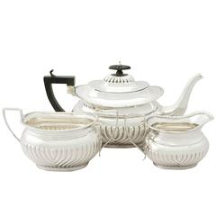 Sterling Silver Three-Piece Tea Service, Antique Edwardian