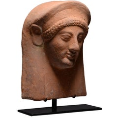 Ancient Greek Archaic Terracotta Female Protome, 550 BC