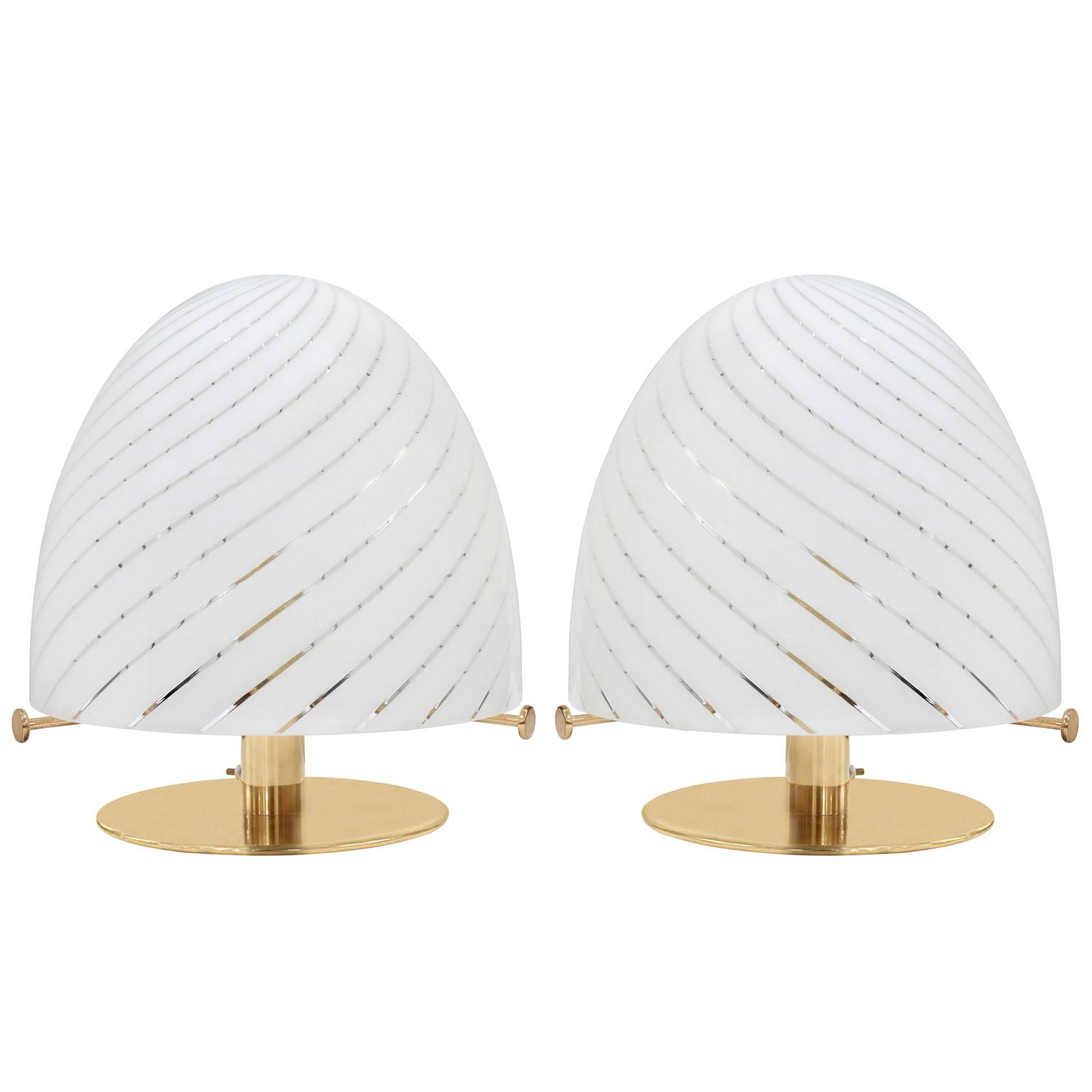 Pair Of Sculptural Brass Table Lamps With Dome Shape Glass