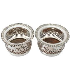 Pair of Electroplated Silver Bottle Coasters - Antique Circa 1940