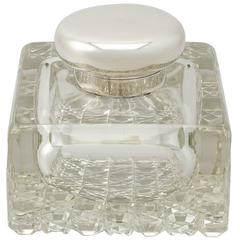 Cut Glass and Sterling Silver Desk Inkwell, Antique George V