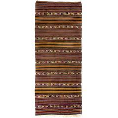 Vintage Banded Turkish Kilim
