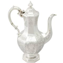 Scottish Sterling Silver Coffee Pot, Antique Early Victorian