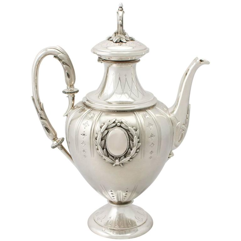 Antique German Silver Coffee Pot, circa 1900