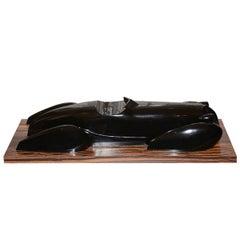 Sculpture of a Vintage Car Aubuan Resin Molding on Ebony Base