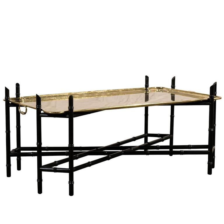 Mid C Large German Brass Tray Coffee Table 1970s At 1stdibs