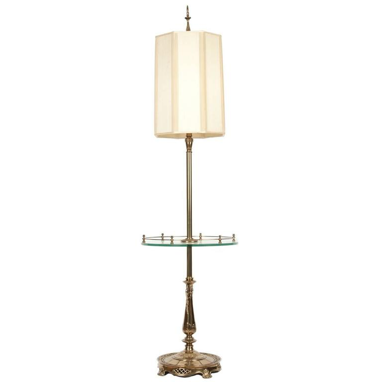 Brass Floor Lamp With Glass Tray Table: Vintage Solid Brass Table Lamp With Tempered Glass Gallery