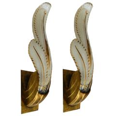 Pair of circa 1950 Murano Sconces