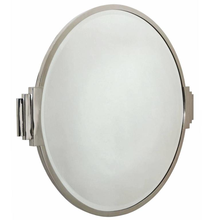 Round silver plate art deco wall mirror france circa for Round silver wall mirror