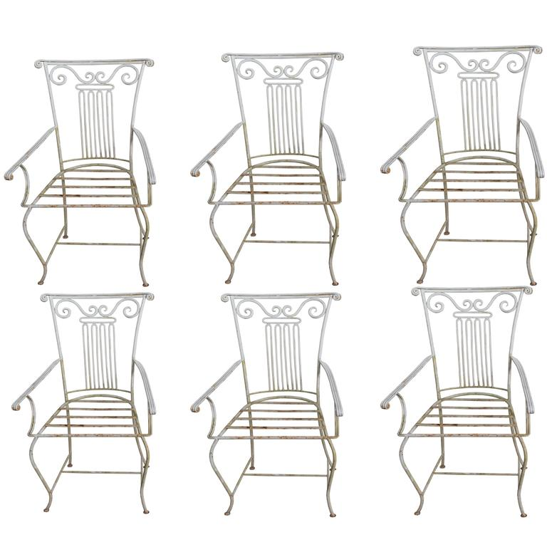Set of Six Neoclassical Wrought Iron Garden Chairs