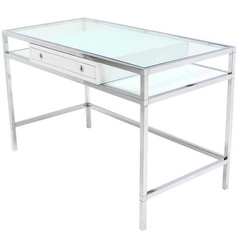 Chrome and Glass e Drawer Writing Table Desk at 1stdibs