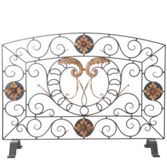 Painted Iron Panel Fire Screen