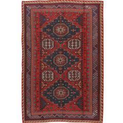 Vintage Russian Sumak Flat-Weave Rug