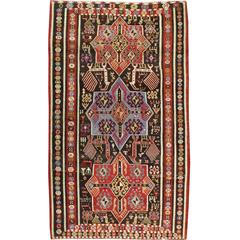 Antique Russian Kuba Kilim Flat-Weave Rug