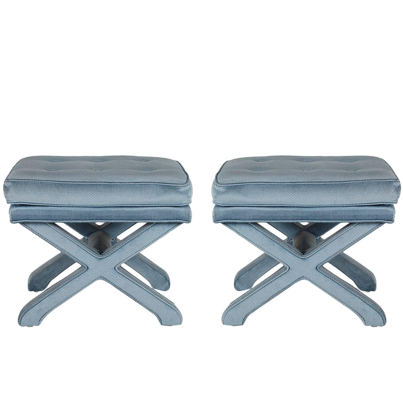 pair of x base stools or benches after billy baldwin at 1stdibs
