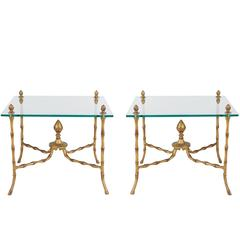 Hollywood Regency Faux Bamboo and Glass End Tables
