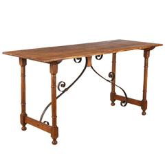 19th Century Spanish Oak Console Table with Iron Stretcher