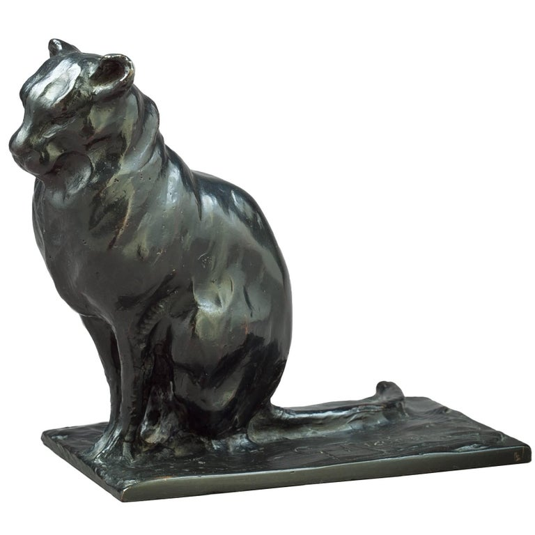 Bronze Cat Sculpture, Guido Righetti, circa 1925 For Sale