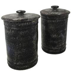 Pair of Sceaux Faux Porphyry Tobacco Jars, 19th Century
