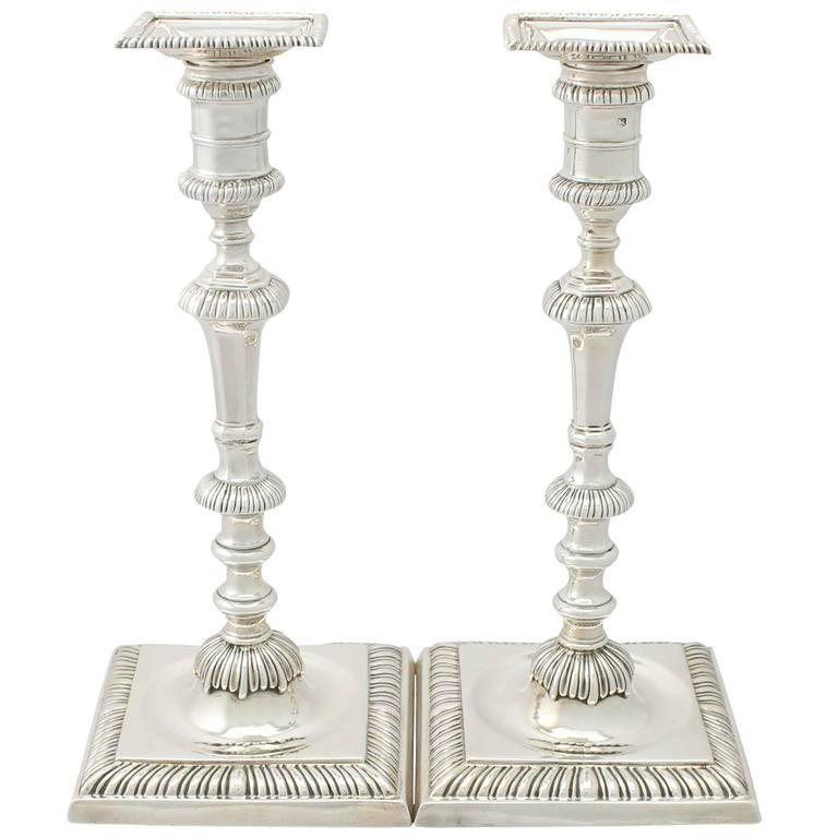 Sterling Silver Candlesticks - Antique George II