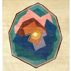 """Rare Handwoven Wool Rug, After Albert Gleizes """"Octagonal Composition"""""""