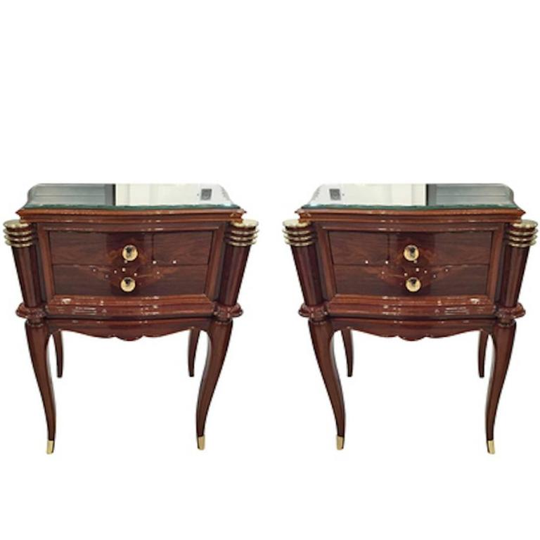 Pair of French Art Deco Night Stands in the Style of Jules Leleu
