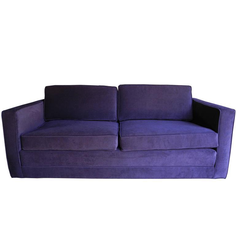 Mid-Century Modern Purple Velvet Sofa / Settee by Charles Pfister for Knoll For Sale