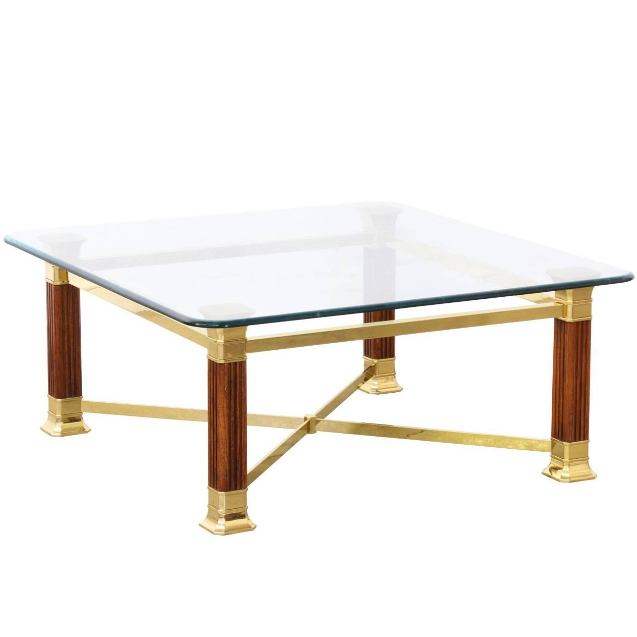 Italian Brass Column Style Base Coffee Table With Glass Top At 1stdibs