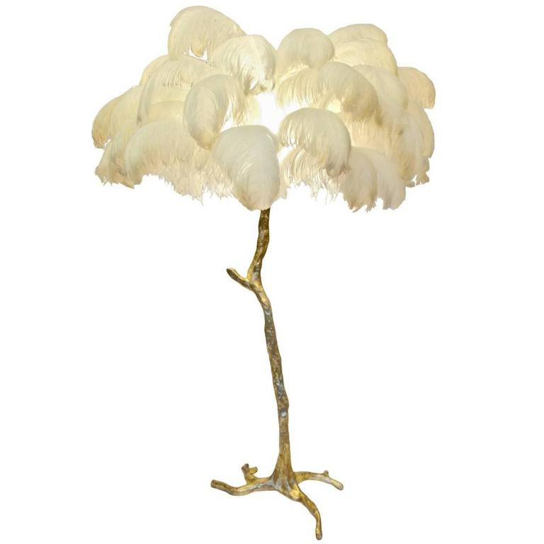 Amazing Hollywood Regency Sculptural Ostrich Feather Palm Tree Floor Lamp For Sale