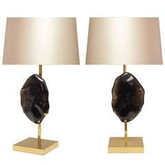 Pair of Modern Dark Rock Crystal Quartz Lamps