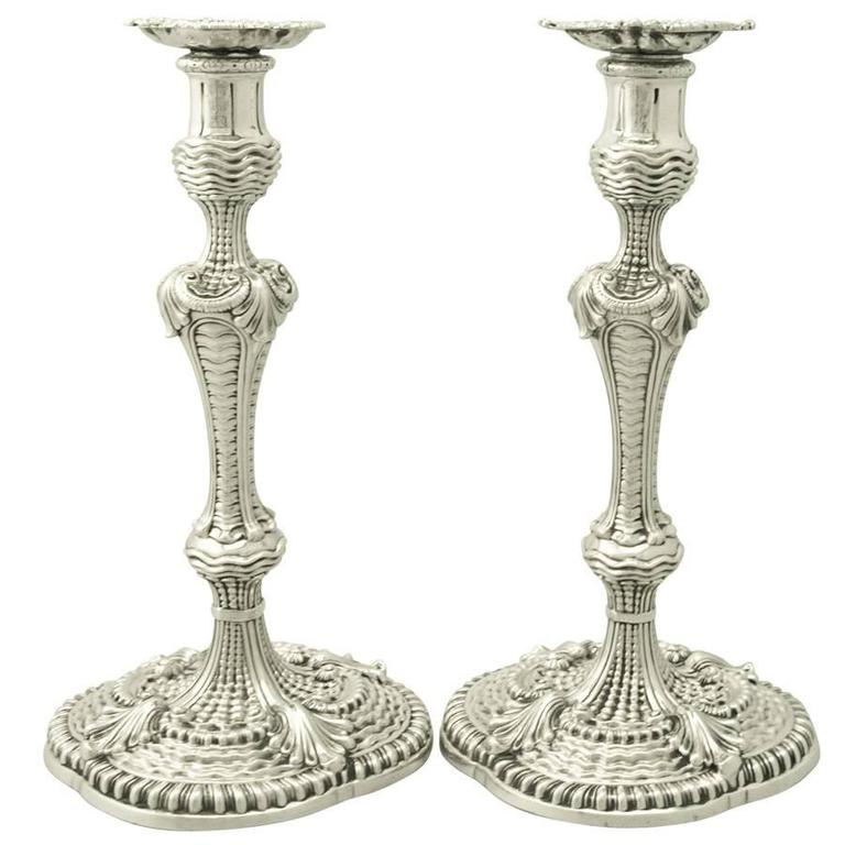 Sterling Silver Candlesticks, Antique George II