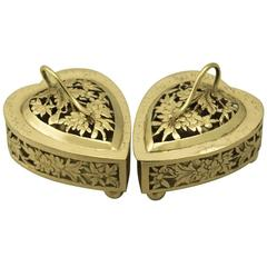 Chinese Export Silver Gilt Potpourri Boxes - Antique Circa 1870