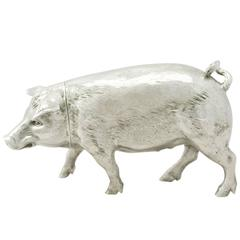 Sterling Silver Pig Sugar Box - Antique Edwardian