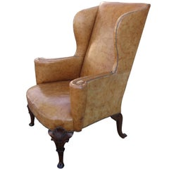 19th Century English Georgian Style Leather Wing Chair, Walnut Cabriole Legs