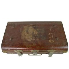Antique British Wilkes & Son Locked Metal Trunk for Export, circa 1800s