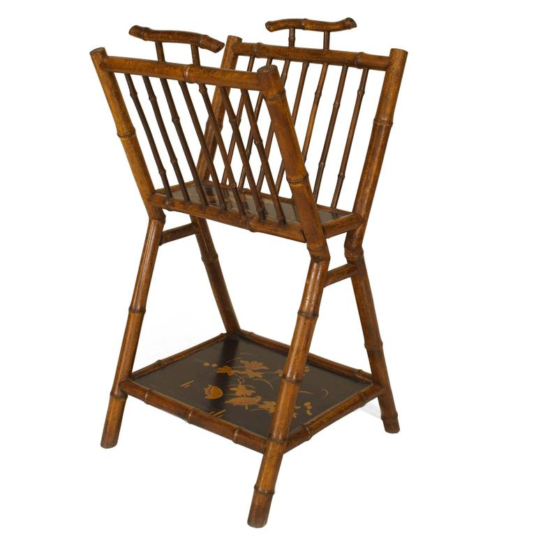 19th Century English Parcel Lacquered Bamboo Magazine Rack