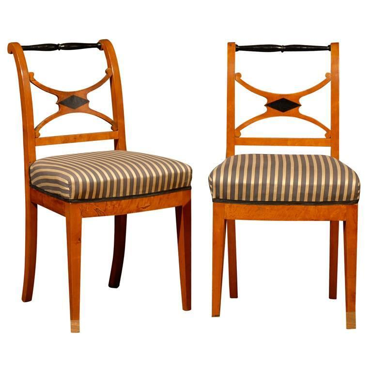 Set of Four 19th Century Karl Johan Swedish Chairs For Sale