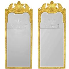 Pair of 24-Karat Water Giltwood and Gesso Italian Trumeau Mirrors