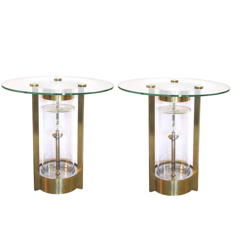 Rare Pair of American Illuminated Side Tables, Designed by Dorothy Thorpe