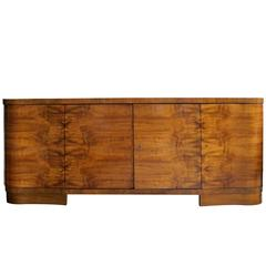 Large-Scaled and Well Veneered English Art Deco Walnut Four-Door Sideboard