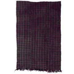 Vintage Chequered Turkish Kilim Rug.  Purple and Olive Green Color. 100% Wool